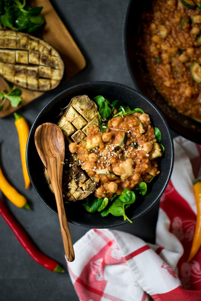 LENTIL-CHICKPEA-STEW WITH BAKED EGGPLANT